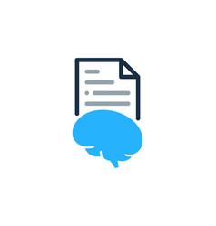 Brain document logo icon design vector