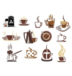 Brown coffee icons vector