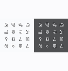 Business icons set flat line design for web vector
