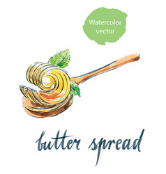 Butter spread on spoon with mint leaves vector