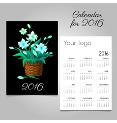 Calendar with magic flowers in a wicker basket vector