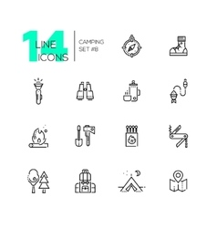 Camping and Hiking - line icons set vector image