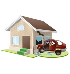 Car crashed into house Home insurance vector image vector image