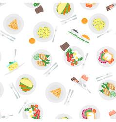 cartoon breakfast menu seamless pattern background vector image