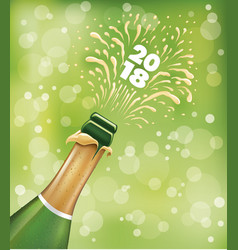 Champagne bottle popping happy new year vector
