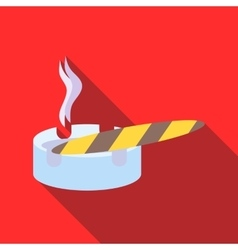 Cigar burned and ashtray icon flat style vector image