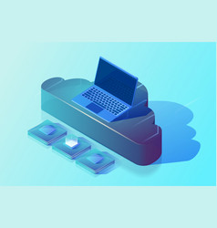Cloud computing and digital storage isometric vector