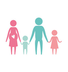 color silhouette set pictogram parents with mother vector image