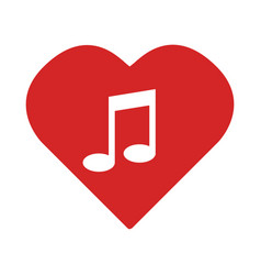 colorful heart with musical note vector image