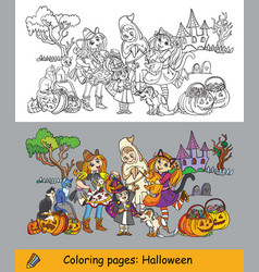coloring halloween ghost cowgirl vector image