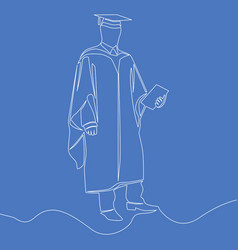 continuous one line graduation students concept vector image