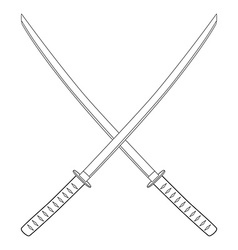 Crossed katana sword vector image