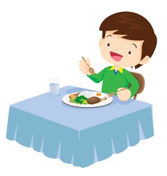 Cute Boy eating so happy and delicious vector