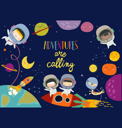 Cute frame composed girls ans boys astronauts vector