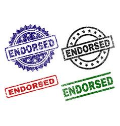 Damaged textured endorsed seal stamps vector