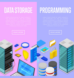 data storage service and programing posters vector image