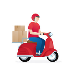 delivery boy ride scooter vector image