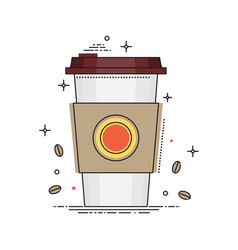 disposable coffee cup icon with coffee beans vector image