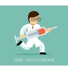 Doctor with syringe vector