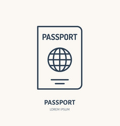 documents identity flat line icon passport vector image