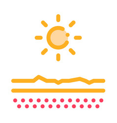 drying out skin in sun icon outline vector image
