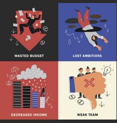 Failure business design concept set vector