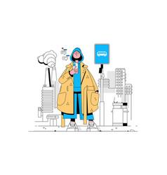 Fashionista in coat vector