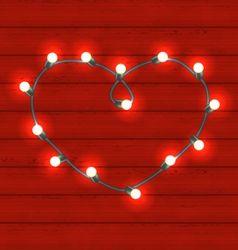 garland heart shaped on red wooden background vector image