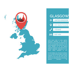 Glasgow map infographic vector