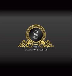 Gold luxury brand letter s elegant logo badge vector