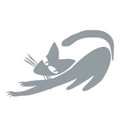gray cat releases claws vector image