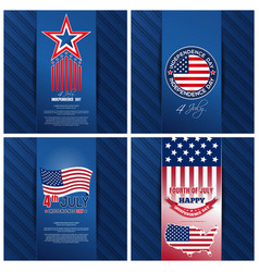 Greeting cards set for us independence day vector