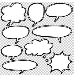 hand drawn set speech bubbles doodle vector image