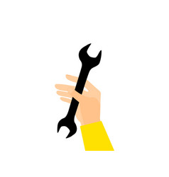 hand holds a wrench isolated vector image