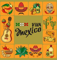 Handwritten words viva mexico mexican icon vector