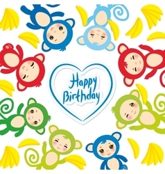 Happy birthday card template funny green blue vector