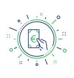 Hold cash money line icon euro currency vector