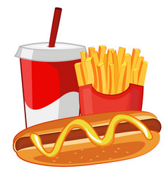 Hot dog french fries and soda vector