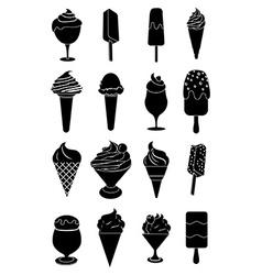Ice cream black icons set vector