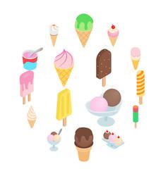 ice cream icons set isometric 3d style vector image