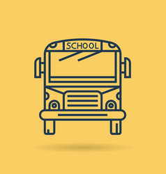 isolated linear icon - school bus - front view vector image