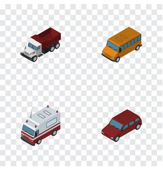 Isometric car set of freight car first-aid and vector