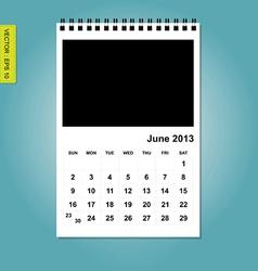 June 2013 calendar vector image