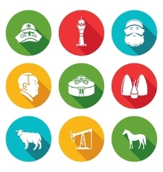 Kazakhstan Icons Set vector