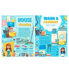 laundry wash home cleaning appliances and tools vector image