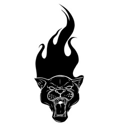 leopard and flame tribal tattoo vector image