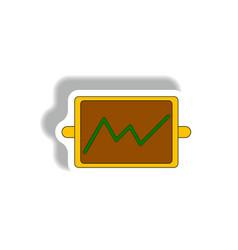 Line graph in paper sticker vector