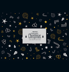 merry christmas decorative pattern on black vector image
