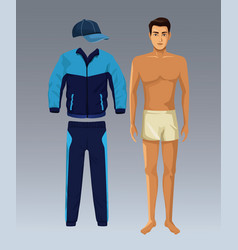 Model man with fitness clothes vector
