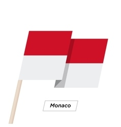 Monaco Ribbon Waving Flag Isolated on White vector image